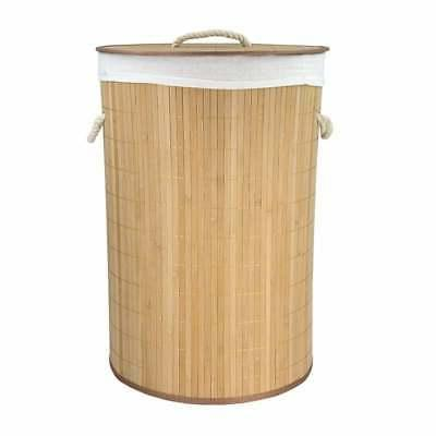 Home Basics Natural Round Foldable Bamboo Hamper Brown