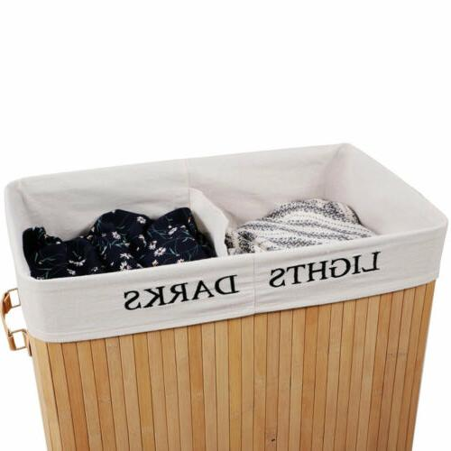Natural Wood Laundry Hamper Bag Organizer Clothes Washing Storage