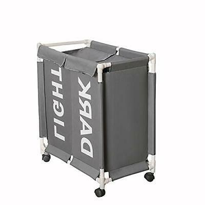 new double bag section rolling laundry hamper