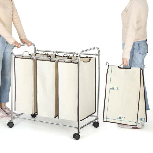 Rolling Laundry Hamper Cart Organizer Basket Sorter with Whe