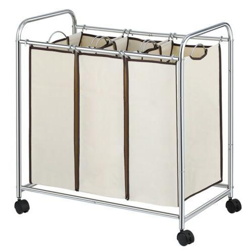 Rolling Cart Organizer Basket Sorter Wheels,3 Removable Bag