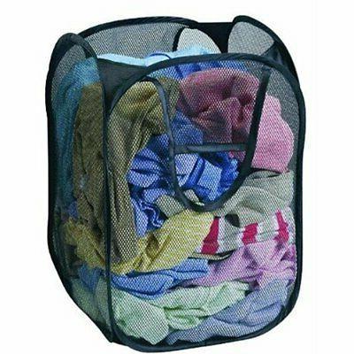 large pop up foldable laundry basket mesh