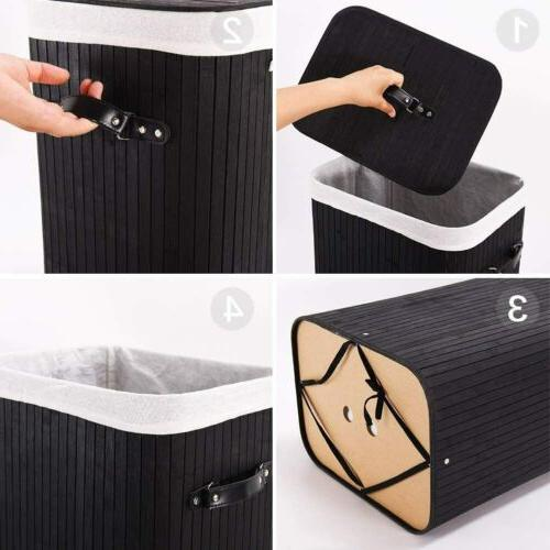 Portable Bamboo Laundry with Bag and Handle Storage