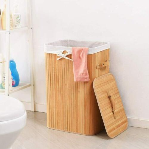 Portable Bamboo Hamper with Liner Bag Handle