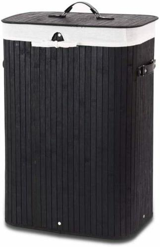 portable bamboo laundry hamper with liner bag
