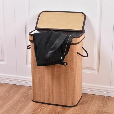 Rect Bamboo Hamper Basket Storage Bin W/Folding
