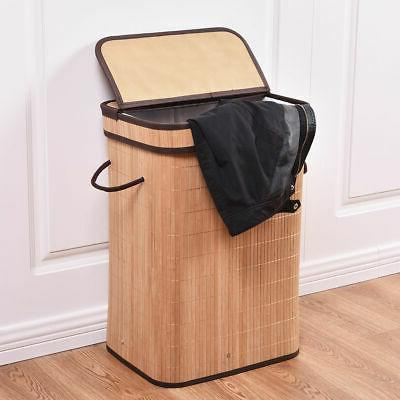 rect bamboo hamper laundry basket washing cloth