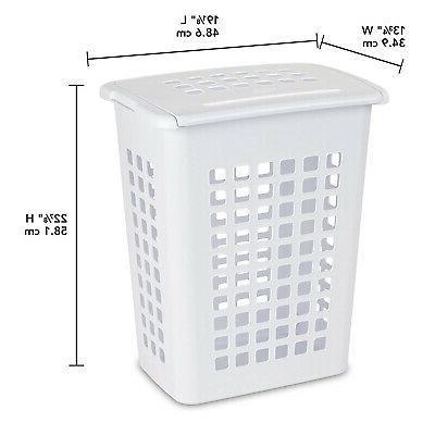 Sterilite Rectangular LiftTop Clothes Laundry Hamper w/