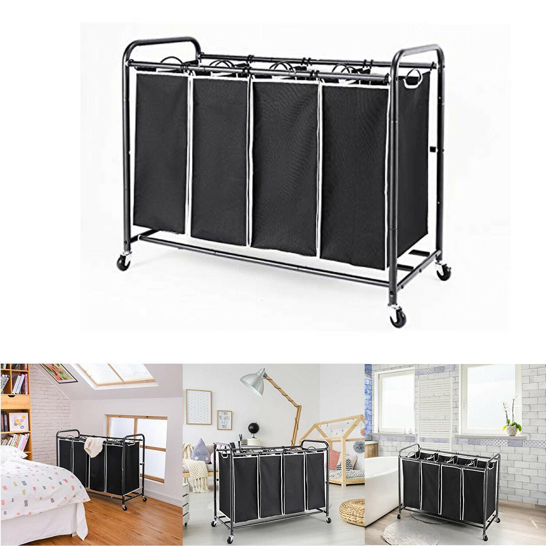 Rolling Laundry Hamper Sorter Cart Clothes Bathroom Storage
