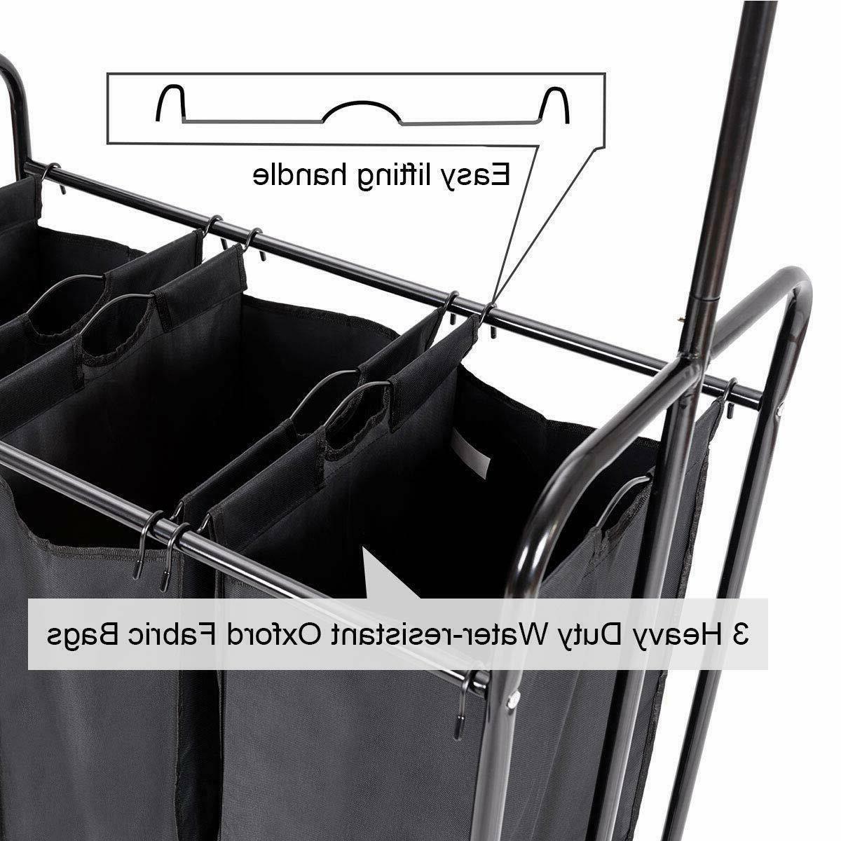 Rolling Laundry Hamper Sorter Cart Hanging Heavy-Duty with Wheels