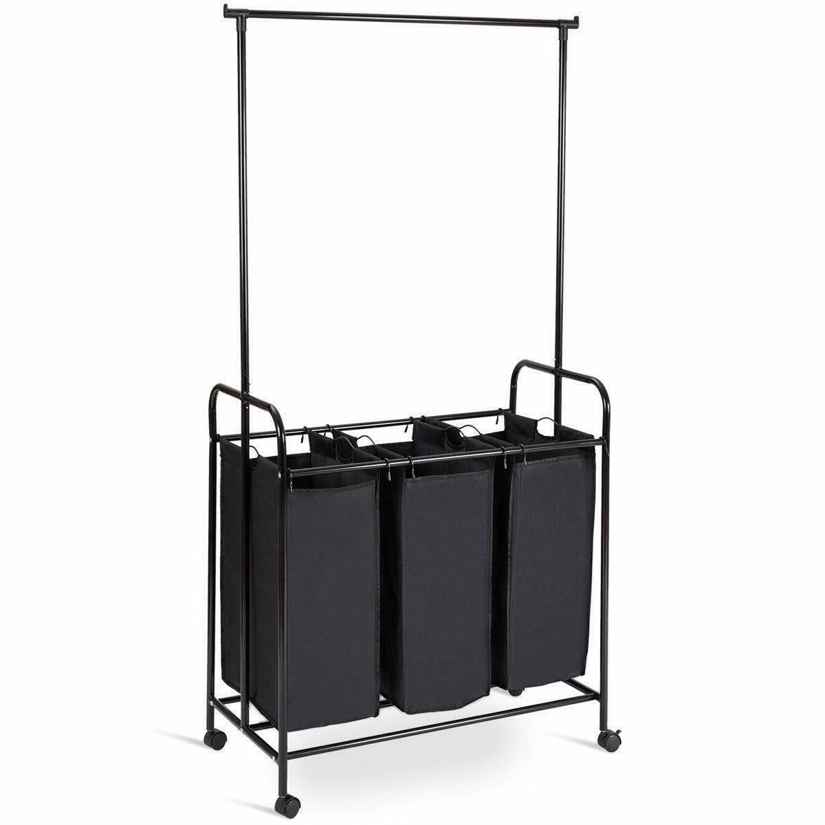 rolling laundry hamper sorter cart hanging bar