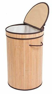 BIRDROCK HOME Round Laundry Hamper Lid + Cloth Liner Bamboo