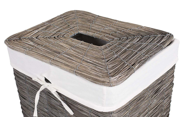 BirdRock Wood Peel Laundry Hamper with Lid. New Box!