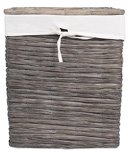 BirdRock Home Rustic Woven with | Weave | Removable Liner Dirty Clothes Grey