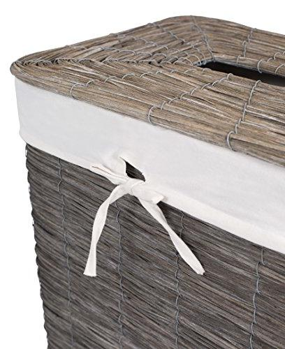 BirdRock Woven Wood Peel Hamper with | Weave Laundry Removable Liner Clothes Storage