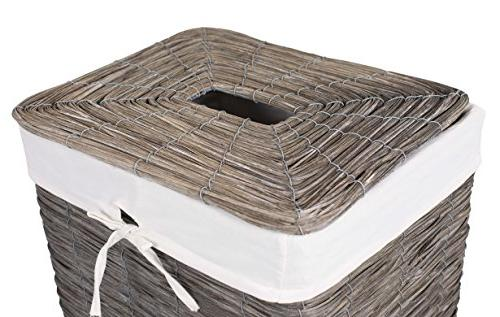BirdRock Home Wood Laundry with Thin Weave Removable Liner Clothes