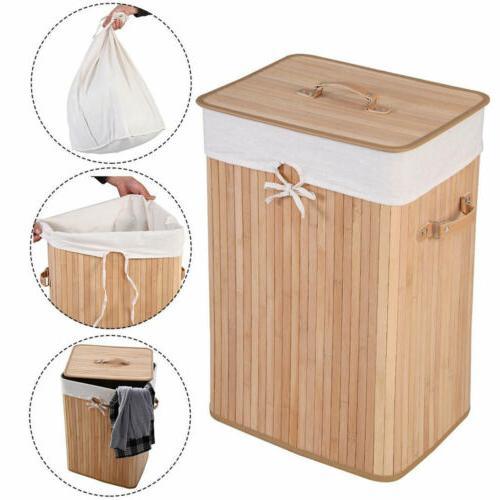 Square Bamboo Hamper Laundry Basket Washing Cloth Storage Bi