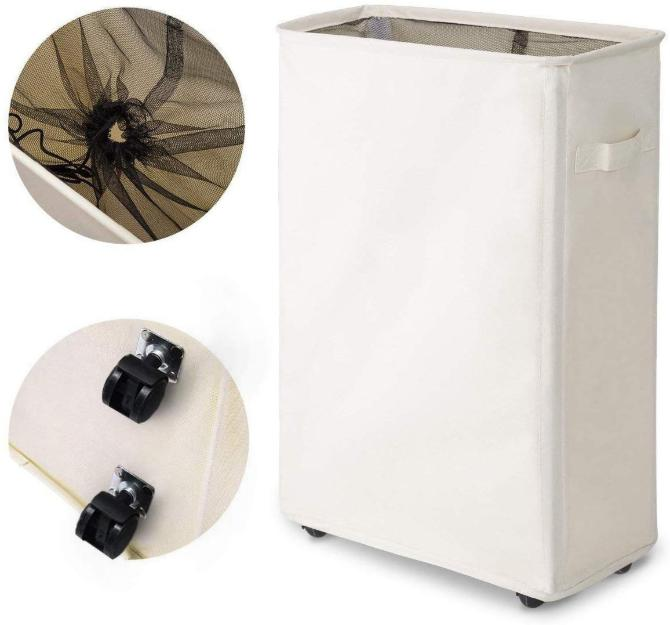 Slim Rolling Foldable Laundry Hamper with Wheels Clothes Lau