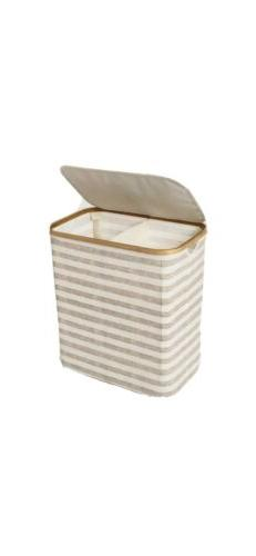 Soft Sided Laundry Hamper With Bamboo Rim Lid
