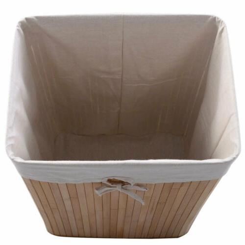 Square Bamboo Basket Washing Bin Bag W/
