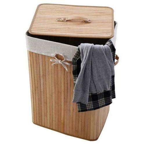 Square Bamboo Clothes Basket Wood