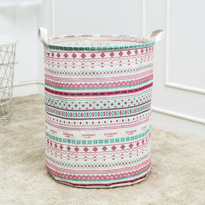 Foldable Hamper Clothes Basket Cotton Laundry Washing