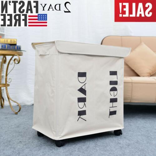 White Laundry Basket Hamper Bag Rolling Wheeled Organization