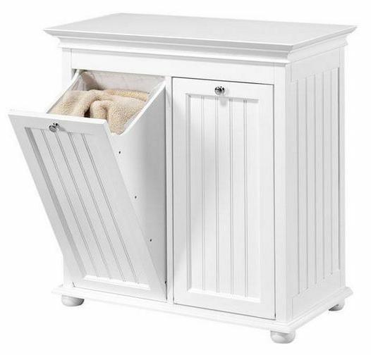 Wood Tilt-Out Laundry Hamper Home Bath Double Shelf Storage