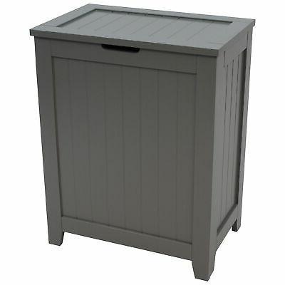 Gray Wooden Hamper Bathroom Laundry Storage Bin Clothes Basket Home Organizer