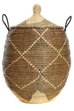 Large Black and Cream Laundry Hamper Baskets Fair Trade Hand
