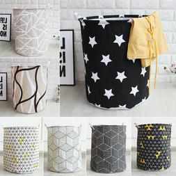 Large Foldable Storage Laundry Hamper Clothes Basket Cotton