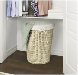 Seville Classics Large Round Wicker Weave Laundry Hamper Can