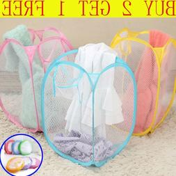Laundry Bag Pop Up Mesh Foldable Washing Basket Bin Hamper T