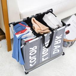 Laundry Basket 3 Sections Foldable Hamper Divided Clothes Ha