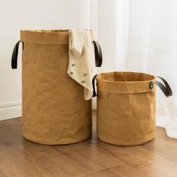 Laundry Basket Bag Foldable Cotton Linen Washing Clothes Ham