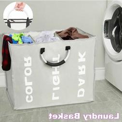 Laundry Basket Bin 3 Sections Large Clothes Hamper Storage O