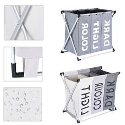 Laundry Basket Bin 3 Sections Large Dirty Clothes Hamper Sor