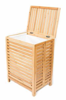 Folding Bamboo Hamper Cotton Liner Laundry Basket Clothes Li