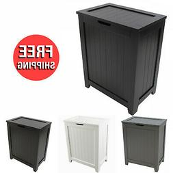 Laundry Basket Country Wood Hamper Box Lid Dirty Clothes Sto