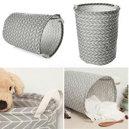Laundry Basket Foldable Cotton Linen Dirty Clothes Hamper St