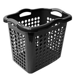 Laundry Basket Hamper Clothes Storage Hybrid Plastic Black H