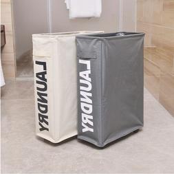 Laundry Basket Rolling Slim On Wheels Bin Folding Hamper Wat