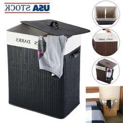 Laundry Basket Washing Clothes Storage Hamper Bamboo Large 2