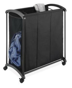 Laundry Bin Hamper Clothes Organizer Sorter 3 Section Storag