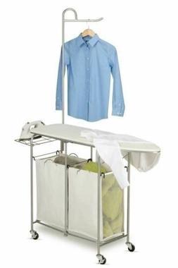 Laundry Cart Ironing Board 2 Bag Sorter Hamper Rolling Stora