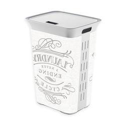 Laundry Clothes Hamper White Plastic Gray Lettering Basket S