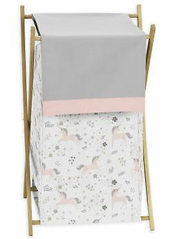 Sweet Jojo Clothes Laundry Hamper for Pink Grey Gold Unicorn