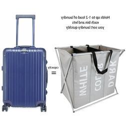 3 sections large foldable laundry basket bin