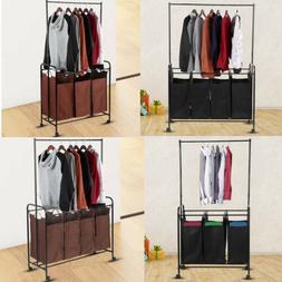 Laundry Hamper Basket Clothes Storage 3/4 Bag Sorter Bin Org