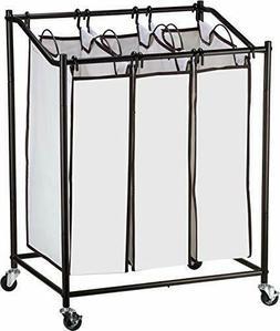 Laundry Hamper Cart Organizer Compact Basket, Heavy Duty, 3
